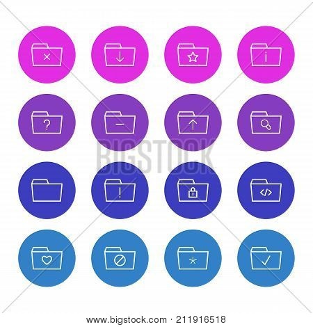 Editable Pack Of Significant, Done, Submit And Other Elements.  Vector Illustration Of 16 Dossier Icons.
