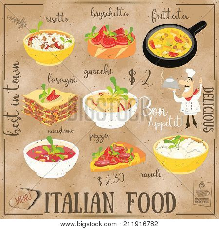 Italian Food Menu Card with Traditional Meal on Chalkboard Background. Italian Cuisine. Food Collection on Kraft Paper. Vector Illustration. Square Format.