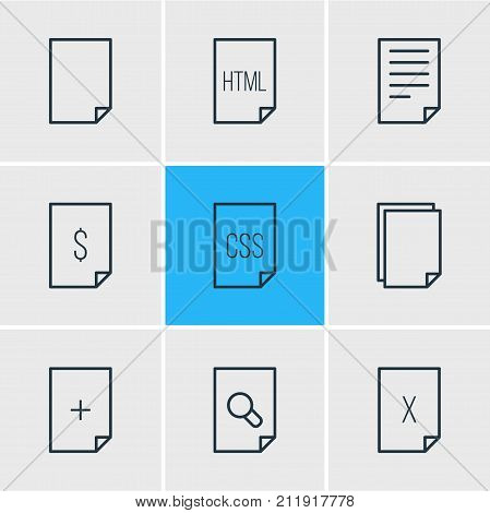 Editable Pack Of Style, Document, Remove And Other Elements.  Vector Illustration Of 9 File Icons.