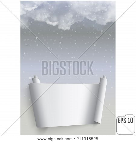 Thunderclouds Against The Background Of Snowfall. Vector