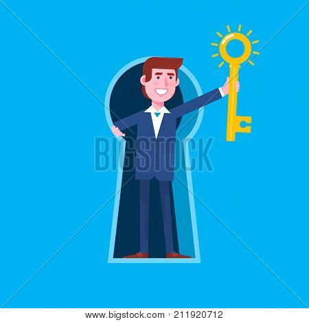 Business man looking out of giant keyhole and holding the big key with keyhole.Concept of creative thinking vector