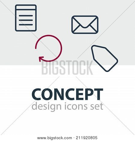 Editable Pack Of Label, Document, Reload And Other Elements.  Vector Illustration Of 4 Application Icons.