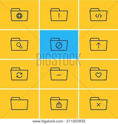 Editable Pack Of Recovery, Locked, Dossier And Other Elements.  Vector Illustration Of 12 Dossier Icons.
