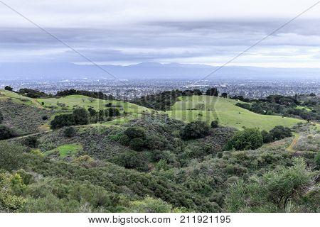 San Francisco South Bay Area Views in Winter. Fremont Older Open Space Preserve, Cupertino, Santa Clara County, California, USA.