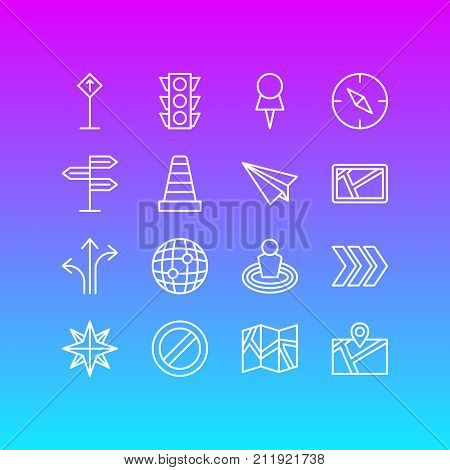 Editable Pack Of Arrow, Guidepost, Orientation And Other Elements.  Vector Illustration Of 16 Navigation Icons.