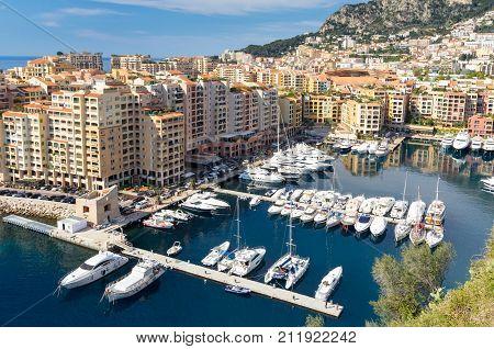 Luxury motor yachts docked in Fontvielle harbour, Monaco