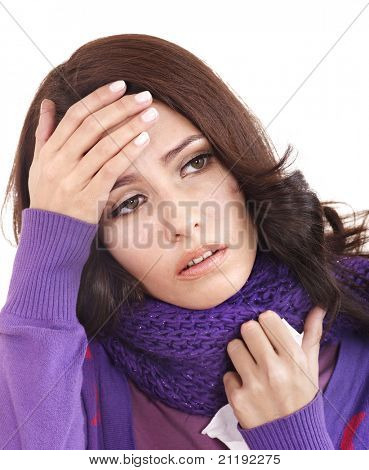 Young woman with handkerchief having  cold. Isolated.