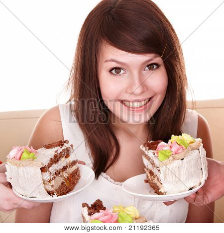 Young woman with chocolate cake. Isolated.