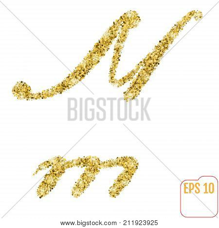 Gold Rush. Gold Alphabetic Letter M. Vector Gold Alphabet. Font