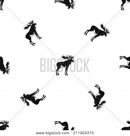 Moose pattern repeat seamless in black color for any design. Vector geometric illustration