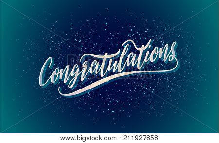 Congratulations Vector holiday illustration. Congratulations greeting card, banner, poster card design in lettering style. Shining stars on night sky background. Happy New Year.  Editable template.