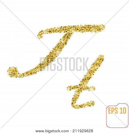 Gold Rush. Gold Alphabetic Letter T. Vector Gold Alphabet. Font