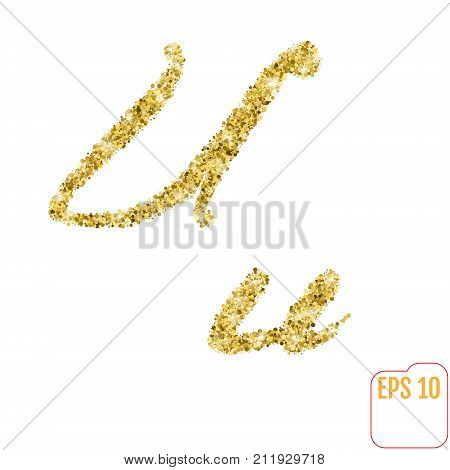 Gold Rush. Gold Alphabetic Letter U. Vector Gold Alphabet. Font