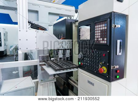 robotic hand machine tool at industrial manufacture factory,Smart factory industry 4.0 concept.