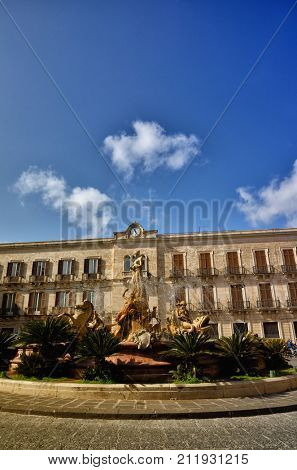 Fountain of Diana in the old downtown of Syracuse, Sicily, on Ortigia island