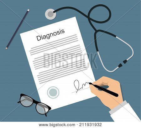 Man in medical form signs the diagnosis document on the table with stethoscope and glasses. Healthcare concept flat vector illustration. Doctor signing a diagnosis document.