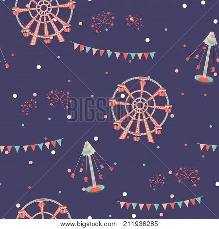 Amusement park seamless pattern. Holiday background. Vector illustration.