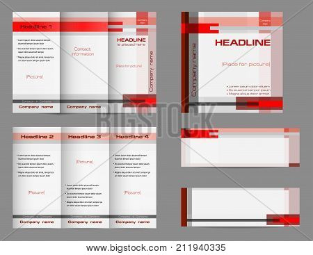 Template set of tri-fold brochure layout, square cover and two banners. Geometric background in red and gray. Minimalistic flat design, business corporate concept. Vector EPS 10