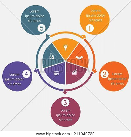 Diagram 5 cyclic processes step by step colorful circles in a circle pie chart for workflow cycle processes diagrams business options banner web design