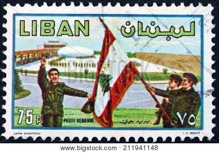 LEBANON - CIRCA 1980: a stamp printed in Lebanon shows Soldiers and flag army day circa 1953