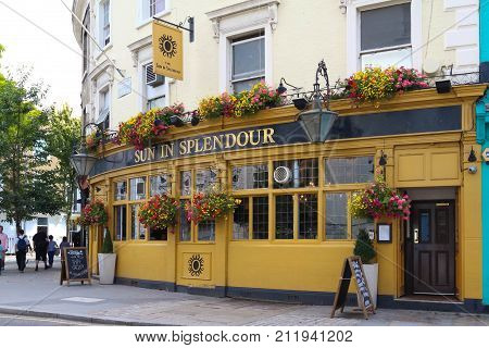 London, England-AUGUST 11, 2016 : The traditional English pub Sun in splendour located in Notting hill district, on Portobello Road London, UK.