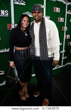 NEW YORK-FEB 1: Football player Kevin Vickerson (R) and guest attend the Roc Nation Sports Celebration at the 40/40 Club on February 1, 2014 in New York City.
