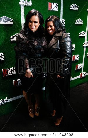 NEW YORK-FEB 1: Reality star Emily Bustamante (L) and Chrissy Lampkin attend the Roc Nation Sports Celebration at the 40/40 Club on February 1, 2014 in New York City.