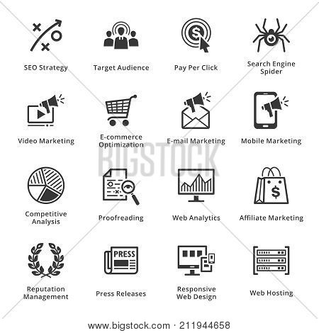 SEO & Internet Marketing Icons Set 3 - Black Series