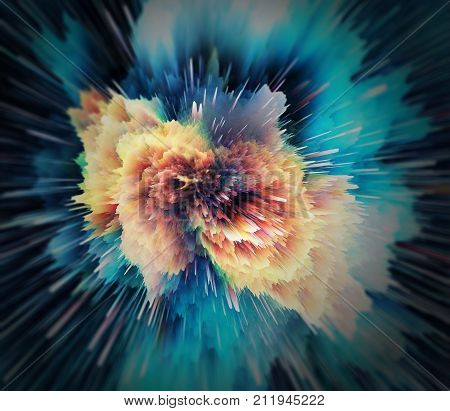 Abstract further space explosion colored. Abstract Background with Array and Lines. Background Raster Illustration