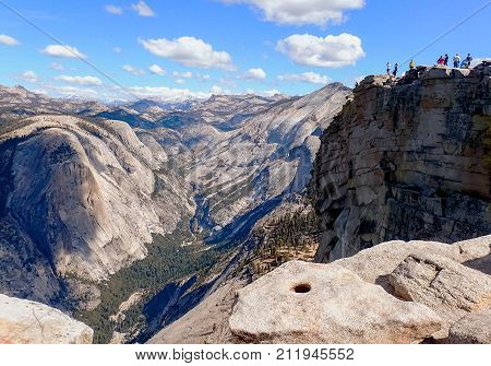 Vast Aerial View of Sierra Nevada Mountains from top of Half Dome