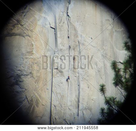 Climbers on Ropes Ascending El Capitan Granite Cliffs in Yosemite