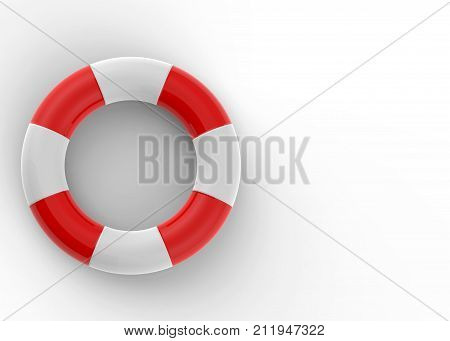 3d rendering. Life saver ring on white background.