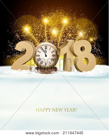 Happy New Year background with 2018 a clock and fireworks. Vector.