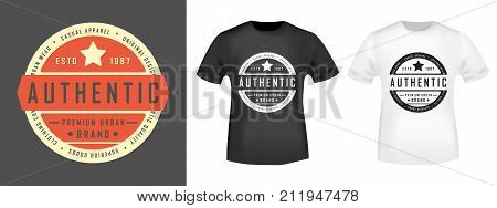 T-shirt print design. Authentic vintage stamp and t shirt mockup. Printing and badge applique label t-shirts jeans casual and urban wear. Vector illustration.