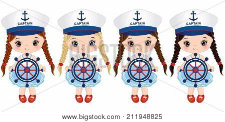 Vector cute little girls with ship wheels. Vector little girls with various hair colors dressed in nautical style. Vector little girl. Little girls with ship wheels vector illustration