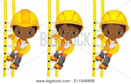 Vector cute little African American boys climbing up the ladders and holding drawings. Vector little African American boys with various hairstyles. Little builders vector illustration