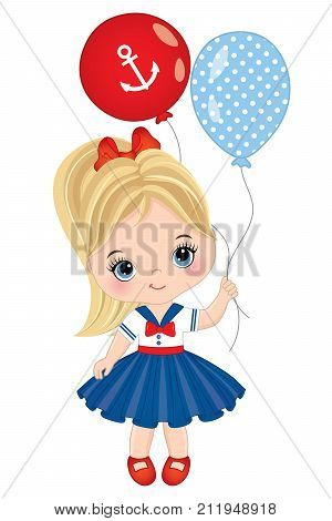 Vector cute little girl with colorful balloons. Vector little girl dressed in nautical style. Little girl with balloons vector illustration