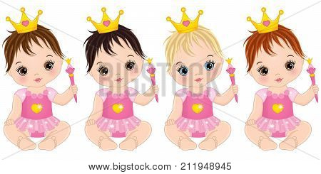 Vector cute little baby girls dressed as princesses. Vector baby girl. Vector baby girls with with various hair colors.  Baby girls vector illustration