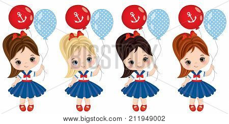 Vector cute little girls with colorful balloons. Vector little girls with various hair colors dressed in nautical style. Vector little girl. Little girls with balloons vector illustration