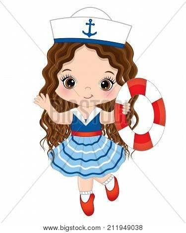 Vector cute little girl with buoy. Vector little girl dressed in nautical style. Little girl vector illustration