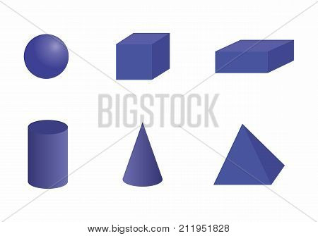 Basic 3d geometric shapes. Solids isolated on a white background.