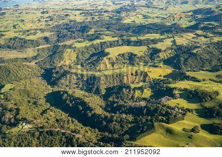 Unique Volcanic Hills Landscape In New Zealand