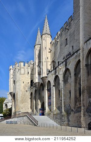 Avignon France - October 02 2017: Palais Des Papes Building in Avignon Provence France