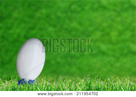 Rugby Ball In Kicking Tee On Grass With Copy Space