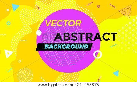 Abstract colorful playful banner background with fun texture design element. Vector overlay orange pattern with white geometric forms with line and dots in trendy graphic