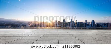 emtpy marble floor and cityscape of kuala lumpur at sunrise