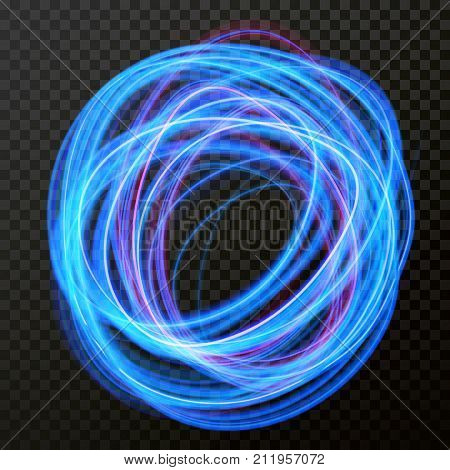 Vector Light Effect Of Line Circle Neon Swirl. Glowing Light Fire Flare