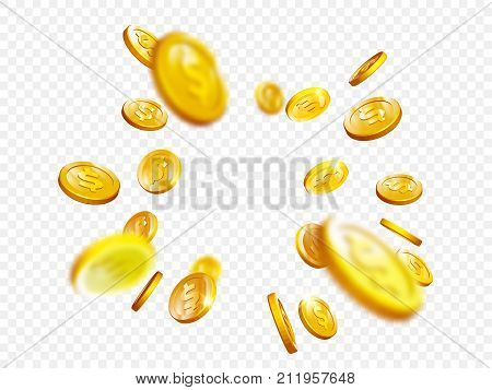 Gold Coin Splash Bingo Jackpot Win Casino Poker Coins Vector 3D Background