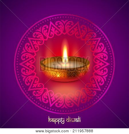 Happy Diwali Gold Candle Light Indian Festival Greeting Card Vector Design