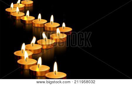 Candle Gold Tealight Light Vector Golden Memorial Prayer 3D Realistic Symbol